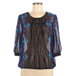 Mossimo 3/4 Sheer Blouse Size M